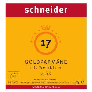 Etikett 2016 Goldparmaene mit Weinbirne Obsthof am Steinberg